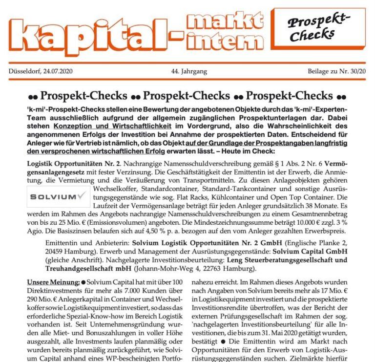 Solvium Logistik Opportunitäten Nr. 2 KMI Report